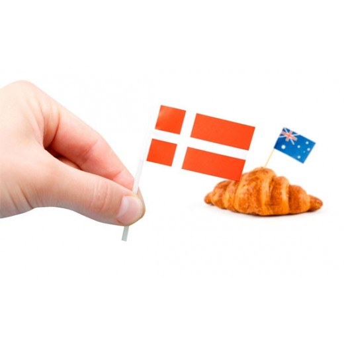 Danmark kageflag i papir (30x48 mm)-3197