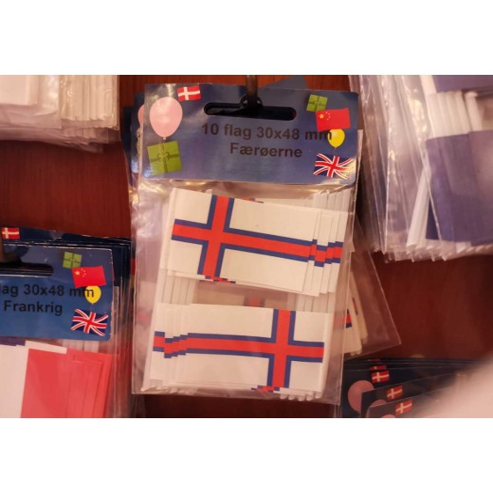 Færøerne kageflag i papir (30x48 mm)-30