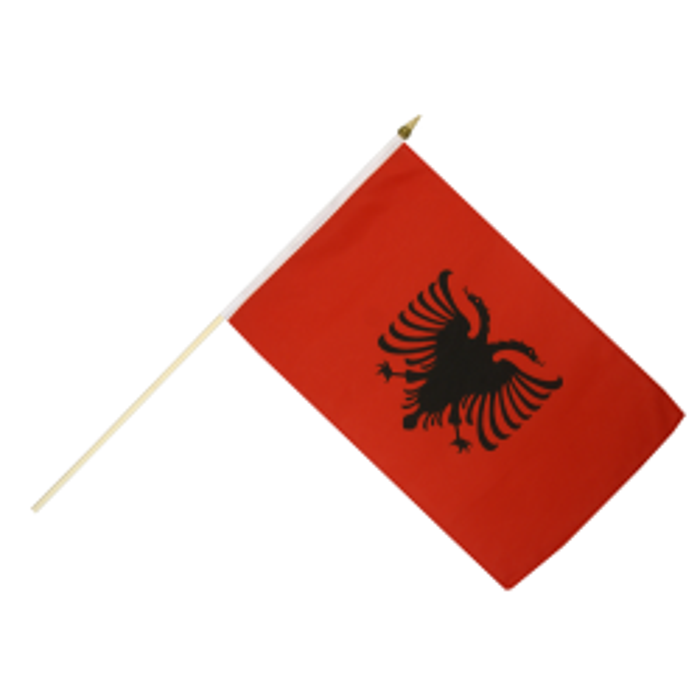 Albanien vifteflag i stof (30x45 cm)