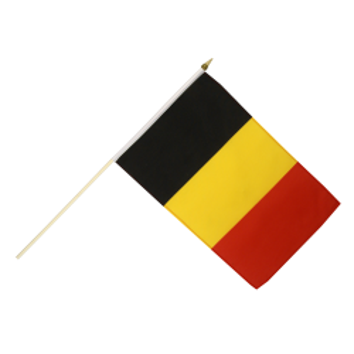 Belgien vifteflag i stof (30x45 cm)