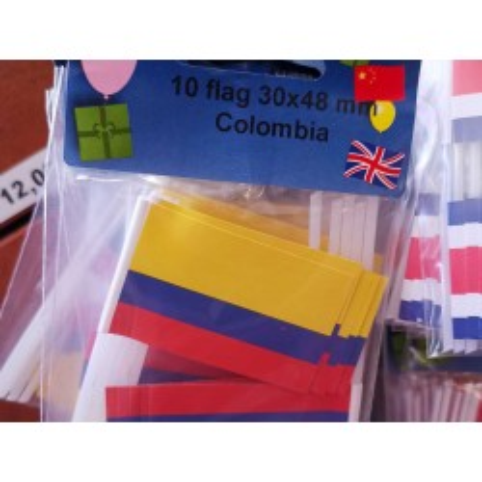 Colombia kageflag i papir (30x48 mm)