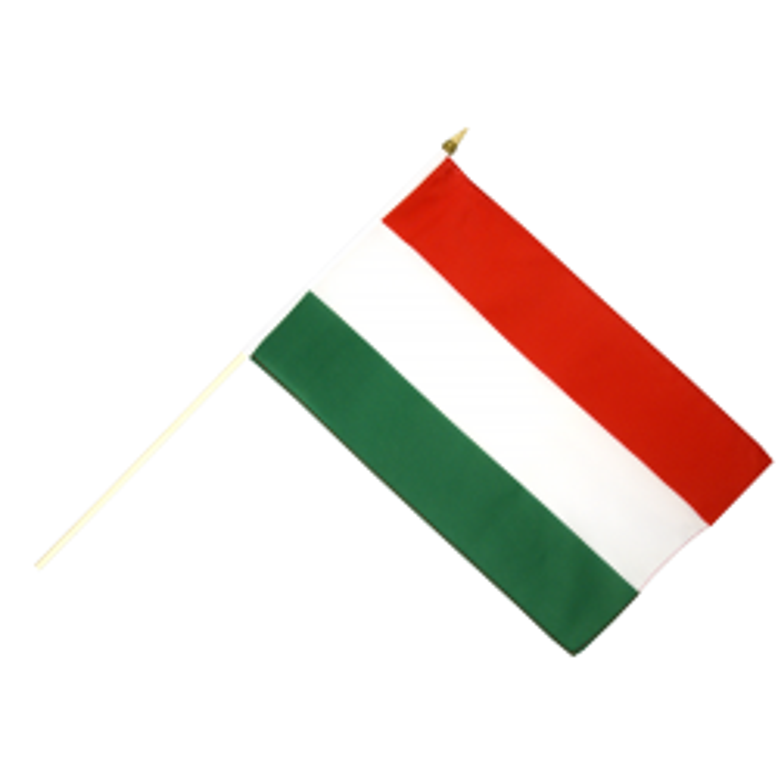 Ungarn vifteflag i stof (30x45 cm)