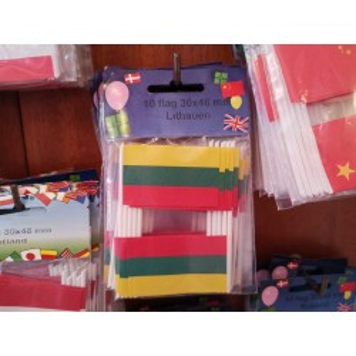 Litauen kageflag i papir (30x48 mm)