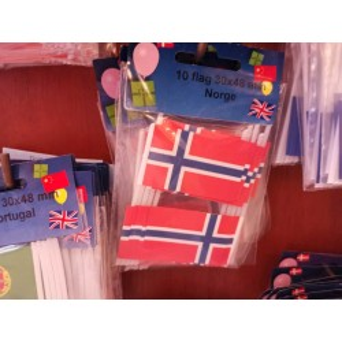 Norge kageflag i papir (30x48 mm)