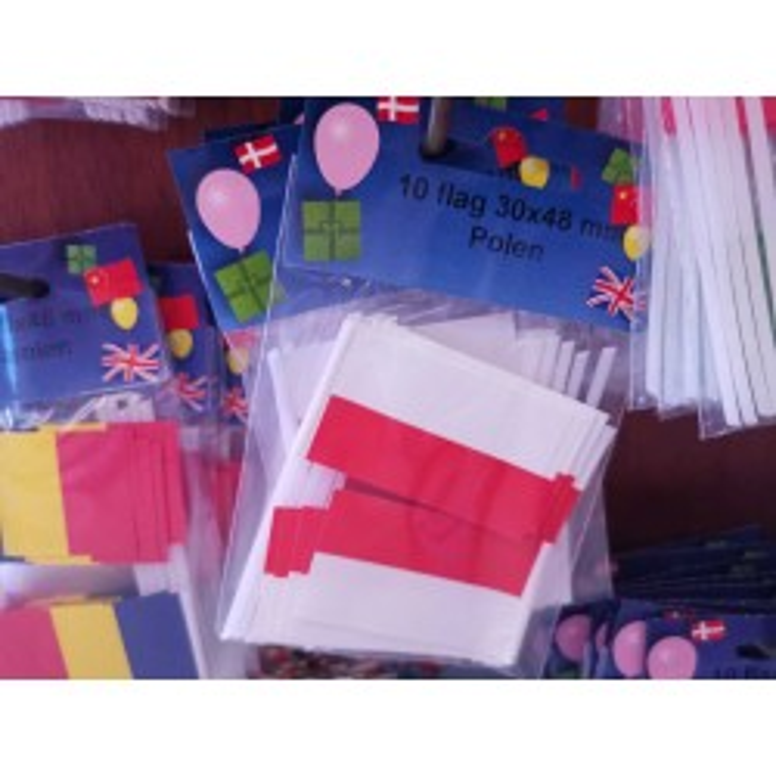 Polen kageflag i papir (30x48 mm)