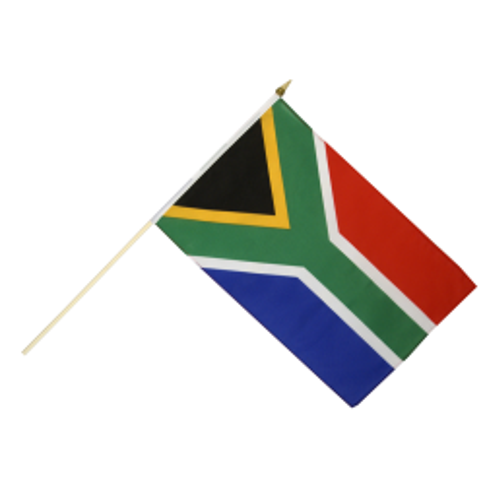 Syd Afrika vifteflag i stof (30x45 cm)