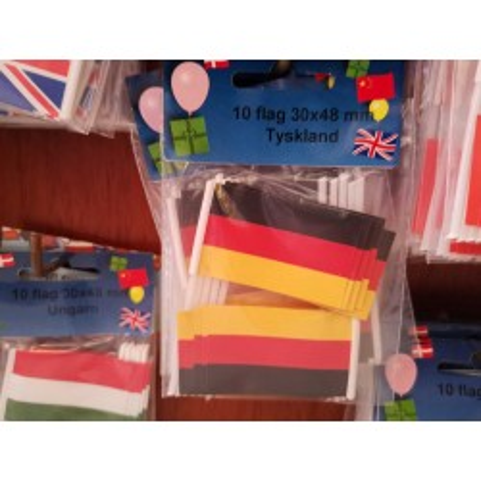Tyskland kageflag i papir (30x48 mm)